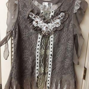 Grey Boho Lace Flowy Fairy Lagen top XL